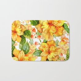 Yellow Hibiscus Tropical Continuous Floral Pattern Bath Mat
