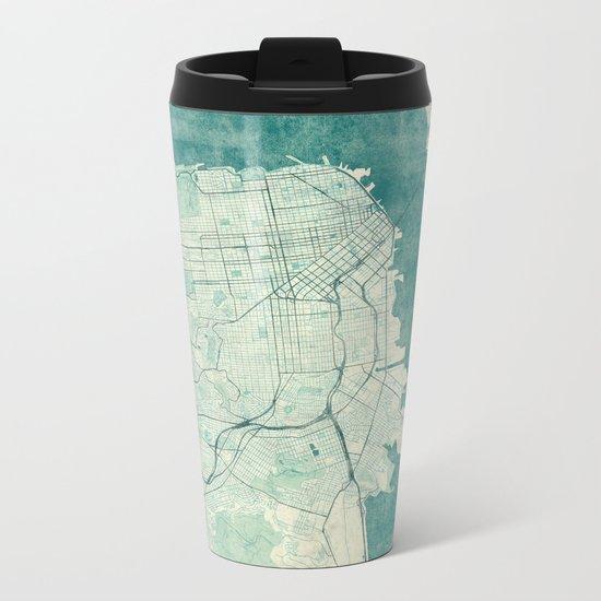 San Francisco Map Blue Vintage  Metal Travel Mug