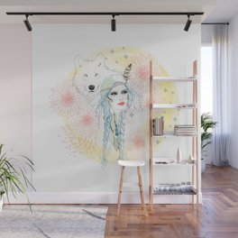 Girl and wolf Wall Mural