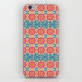 Colorful red blue yellow watercolor moroccan motif iPhone Skin