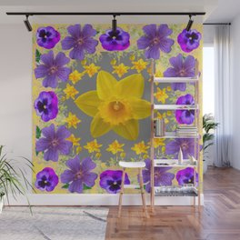 SPRING PURPLE  FLOWERS DAFFODIL ART DESIGN Wall Mural