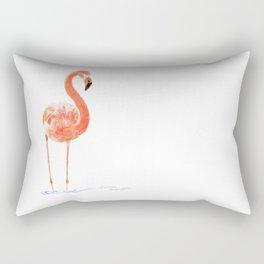 """Just Peachy"" - 5"" x 7"" acrylic painting of a Flamingo by Teresa Thompson Rectangular Pillow"