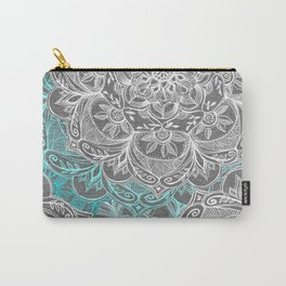 Turquoise & White Mandalas on Grey Carry-All Pouch