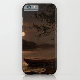 Shore of the Lake at Full Moon landscape painting by Magnus Munsterhjelm iPhone Case