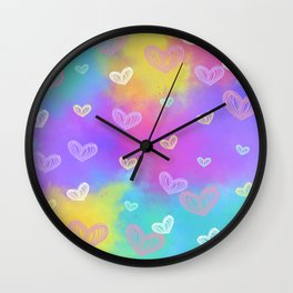 Colorful Heart Drawings Ver.4 Wall Clock