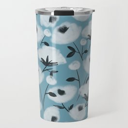 Cotton Flowers on Blue Pattern Travel Mug