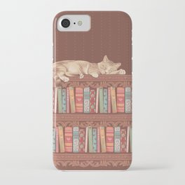 Cat in the library iPhone Case