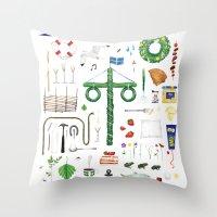 swedish Throw Pillows featuring swedish midsummer by N Li