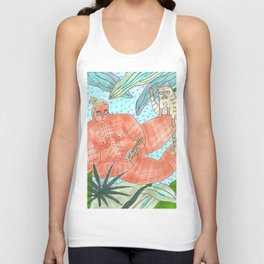 Beefcake, music, palms and a furry cat Unisex Tank Top