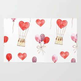 love in the air  watercolor pattern wit hearts, balloons Rug