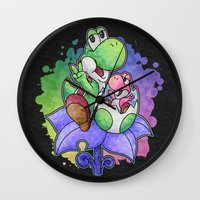 yoshi Wall Clocks featuring Yoshi and Baby Yoshi by likelikes