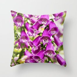 Foxglove Flowers Throw Pillow