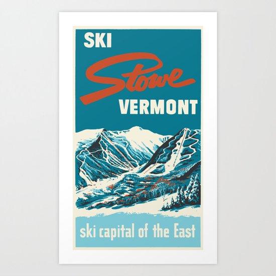 Stowe, Vermont Vintage Ski Poster by lnroeder