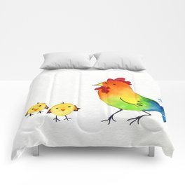 Little Rainbow Roosters Comforters