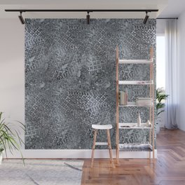 Shoeprints in icy slush Wall Mural