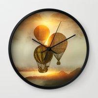matty healy Wall Clocks featuring A Trip down the Sunset by Viviana Gonzalez
