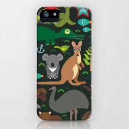 Animals Australia: Echidna Platypus ostrich Emu Tasmanian devil Cockatoo parrot Wombat snake turtle iPhone Case