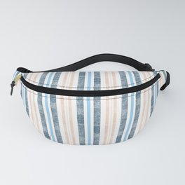 Blue, beige stripes on a white background. Fanny Pack