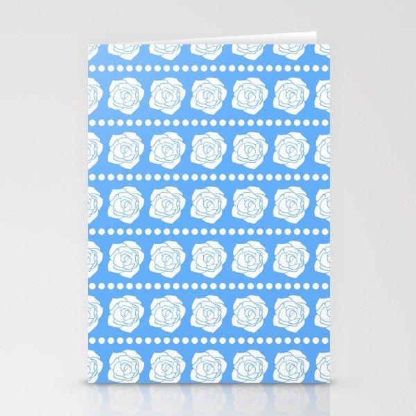 Simple White Roses - Blue BG Stationery Cards