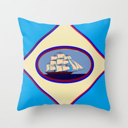 A Nautical Scene with Clipper Ship with Sky Blue Background Throw Pillow