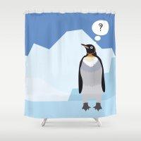 penguin Shower Curtains featuring Penguin by Nir P