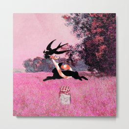 Pink Whimsical cute rabbit, bird vector on field collage Metal Print