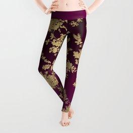Chic faux gold burgundy ombre watercolor floral Leggings