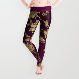 Chic faux gold burgundy ombre watercolor floral Leggings