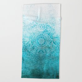Fade to Teal - watercolor + doodle Beach Towel