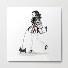 Houndstooth and a Scottie Watercolor Fashion Illustration Metal Print