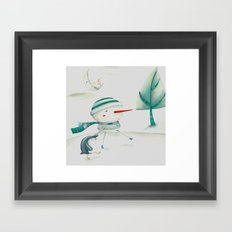 Snowman and friend Framed Art Print