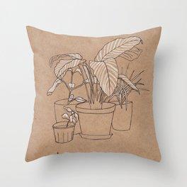 black and white house plants Throw Pillow