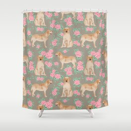 Yellow Lab florals labrador retriever dog breed flower pet portraits by pet friendly Shower Curtain