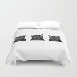 Triple Black Cat on White Duvet Cover