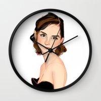 emma stone Wall Clocks featuring emma by William Reiss