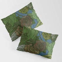 Roses Illustration in Green and Blue Pillow Sham