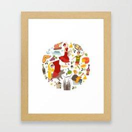 Spain, touristic symbols vector. Colorfull hand drawn illustration Framed Art Print