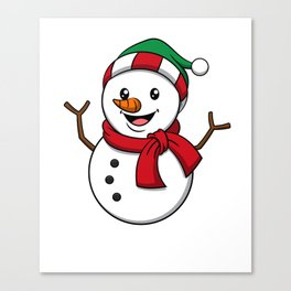 Cute Snowman Winter Cap Scarf Gift Idea Canvas Print