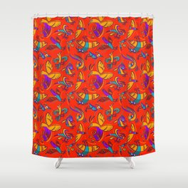 Pattern with Firebirds (on red background) Shower Curtain