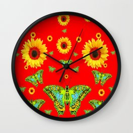 RED COLOR YELLOW SUNFLOWERS GREEN MOTHS Wall Clock