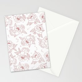 Pink peonies pattern Stationery Cards