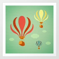 hot air balloon Art Prints featuring Hot Air Balloon Ride by Irene Chan