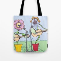woodstock Tote Bags featuring Woodstock Garden by Michele Baker