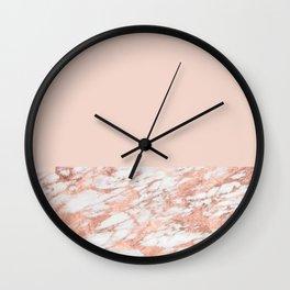 Blush massarosa - rose gold marble Wall Clock