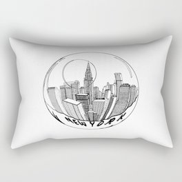THE CITY of New York in a Suspended Bowl . Artwork Rectangular Pillow