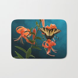 Eastern Tiger Swallowtail Butterfly On Orange Tiger Lily Bath Mat