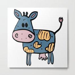 Fun navy blue hand drawn cow Metal Print