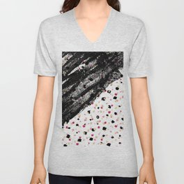 Pink, Black, & Faux Gold Paint Dots & Brushstrokes Unisex V-Neck