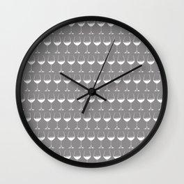 Wine Glasses on Grey Wall Clock