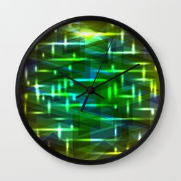 Bright cosmic luminous green and orange triangles on the edges. Wall Clock
